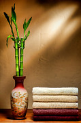 Brown Tones Framed Prints - Towels and Bamboo Framed Print by Olivier Le Queinec