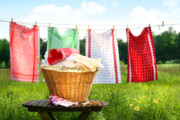 Fresh Green Digital Art Posters - Towels drying on the clothesline Poster by Sandra Cunningham