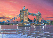 Architecture Painting Posters - Tower Bridge after the Snow Poster by Richard Harpum