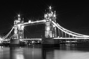 White River Digital Art Framed Prints - Tower Bridge by Night - black and white Framed Print by Melanie Viola