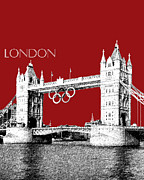 Red Buildings Digital Art Posters - Tower Bridge Dark Red Poster by DB Artist