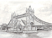 Bridge Drawings Originals - Tower Bridge in London by Brian Thompson