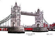 Buildings Drawings Drawings Framed Prints - Tower Bridge - London Framed Print by Frederic Kohli