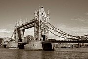 Kate Middleton Photo Framed Prints - Tower Bridge - Sepia Framed Print by Heidi Hermes