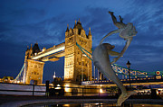 Dusk Digital Art Originals - Tower Bridge the dolphin and the girl by Andy Beattie Photography