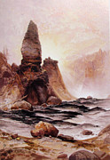 Yellowstone Digital Art Prints - Tower Falls At Yellowstone Print by Thomas Moran