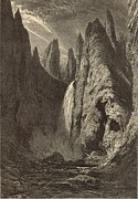 Grand Canyon Drawings - Tower Falls at Yellowstone Valley by Antique Engravings