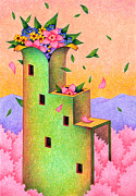 Sakura Drawings - Tower of a flower by T Koni