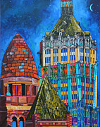 San Antonio Paintings - Tower of Life Building and Courthouse by Patti Schermerhorn