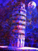 Work Of Art Digital Art Posters - Tower Of Pisa By Moonlight Poster by Jack Zulli