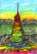 Visionary Art Pastels Prints - Tower of The Spirit Print by Yuri Lushnichenko