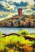 Lakes Digital Art - Tower on the Bluff by Jeff Kolker