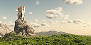 Tor Digital Art Posters - Tower on the Moors Poster by Fairy Fantasies