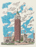 Town Square Drawings Prints - Tower on the Square Print by Shawn Vincelette
