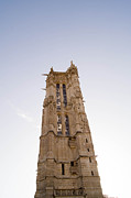 Religious Art Pyrography - Tower Saint Jacques Paris by Henri Postant