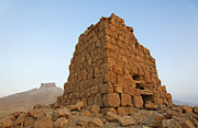 Palmyra Photos - Tower tomb and the Arab Castle at Palmyra Syria by Robert Preston