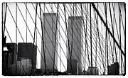 Brooklyn Bridge Posters - Towers from the Brooklyn Bridge 1990s Poster by John Rizzuto