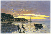 Sailboat Ocean Paintings - Towing a Boat Honfleur by Claude Monet