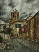 Old Neighbourhood Art - Town Hall And Church Bell Tower by Pedro L Gili