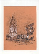 Sepia Ink Drawings - Town hall Cracow by Monika Golebiowska