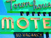 Town Digital Art Metal Prints - Town House Motel . No Vacancy Metal Print by Wingsdomain Art and Photography