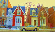 Pointe St. Charles Paintings - Town Houses In Winter Suburban Side Street South West Montreal City Scene Pointe St Charles Cspandau by Carole Spandau