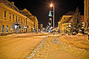 Town In Deep Snow On Christmas  Print by Dalibor Brlek