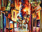 Alleyway Paintings - Town In england by Leonid Afremov