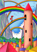 Spire Drawings Posters - Town of Rainbow Poster by T Koni