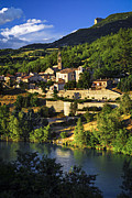 Cliffs Posters - Town of Sisteron in Provence Poster by Elena Elisseeva