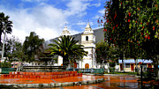Town Square Framed Prints - Town Square in Penipe Ecudor Framed Print by Al Bourassa