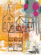 Monoprint Framed Prints - Town Square Framed Print by Linda Woods
