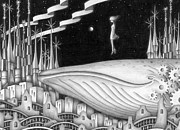 Different Dimension Drawings - Town where a whale sleeps by T Koni