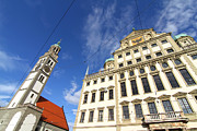 Schwaben Framed Prints - Townhall of Augsburg with St. Peter Framed Print by Michael Osterrieder