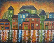 Folk Art Abstract Prints - Township On The Water Print by Molly Roberts