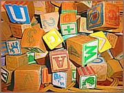 Spelling Digital Art Prints - Toy Blocks Print by Mindy Newman