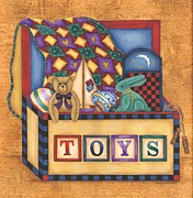 Toy Boat Paintings - Toy Box by Tracy Campbell