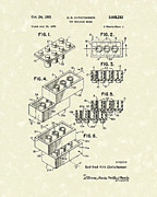 Patent Artwork Drawings Metal Prints - Toy Building Brick 1961 Patent Art Metal Print by Prior Art Design