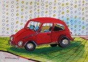 Tires Drawings Posters - Toy Car-Musing Poster by John  Williams