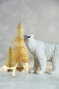 Sandra Cunningham - Toy polar bear with little gold trees and lights