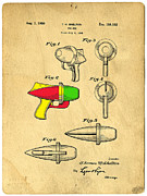 Cartoon Alien Framed Prints - Toy Ray Gun Patent II Framed Print by Edward Fielding