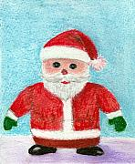 Christmas Card Pastels Prints - Toy Santa Print by Anastasiya Malakhova