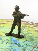 Iraq Conflict Posters - Toy Solider on Iraq Map Poster by Amy Cicconi