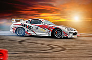 Jdm Prints - Toyota Drift - Sunset Print by Martin Slotta
