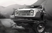 Automobile Artwork. Prints - Toyota FJ55 Land Cruiser Print by Uli Gonzalez