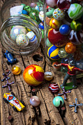 Glass Jar Posters - Toys and marbles Poster by Garry Gay