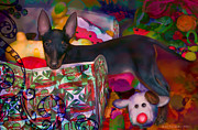 Christmas Dogs Digital Art Prints - Toys For Christmas Print by Kari Nanstad