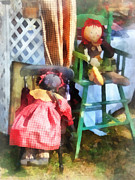 Toys - Two Rag Dolls At Flea Market Print by Susan Savad