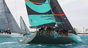 Sailboat Ocean Photos - TP52 Miami Regatta by Steven Lapkin