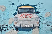 Berlin Mixed Media Prints - Trabant on the Berlin Wall Print by Gynt